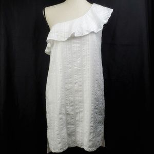 Cloth & Stone White One Shoulder Ruffled Dress